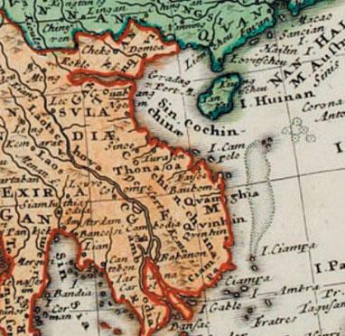 "Một bản đồ cổ ""Carte de l'Asia"" do Homann Heirs vẽ năm 1744"